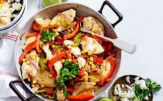 Cajun chicken, corn and capsicum with black bean rice