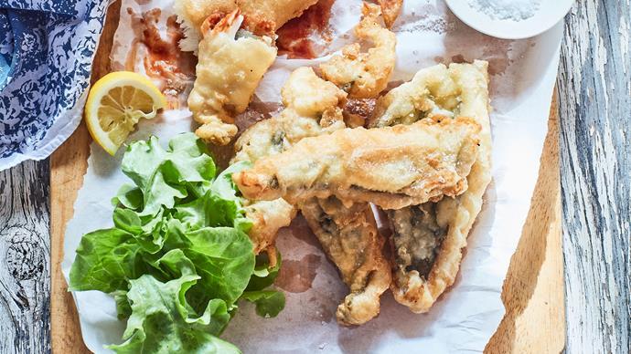 Crispy battered fish and vegetable chips