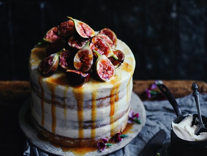 """**[Zucchini layer cake with honeyed figs](https://www.womensweeklyfood.com.au/recipes/zucchini-layer-cake-with-honeyed-figs-2956