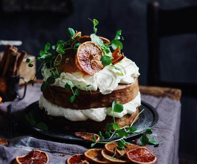 orange and sweet pea cake