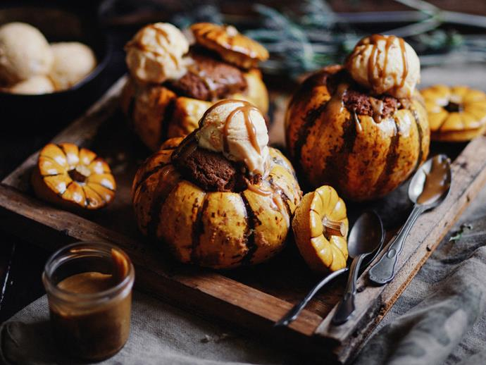 "Unique, eye-catching and oh-so sweet, these little ice-cream-topped [heirloom pumpkin puddings](https://www.womensweeklyfood.com.au/recipes/pumpkin-spiced-puddings-2960|target=""_blank"") from make an unforgettable dessert. You will need to start this recipe a day ahead."