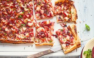 Easy apple and red onion tart with mustard crème fraîche