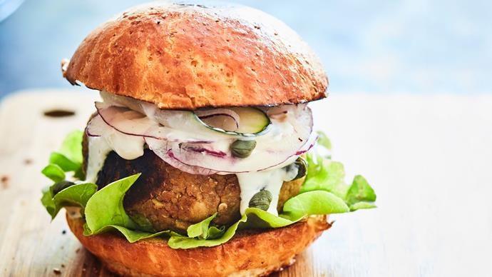 Chickpea, apple and quinoa vegetarian burgers