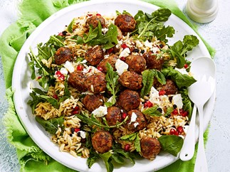 Moroccan veal meatballs with risoni pasta salad