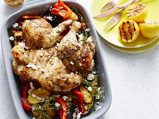 Butterflied Greek chicken