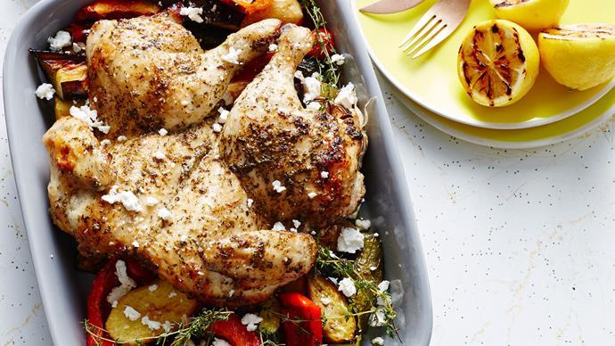 Butterflied Greek chicken