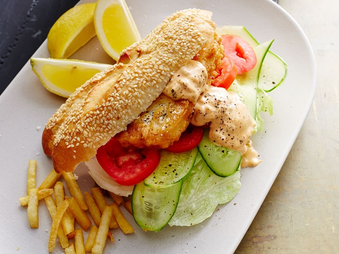 Crispy fish burgers with spicy tomato mayo sauce
