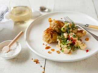 Almond-crumbed chicken with banana chilli salsa