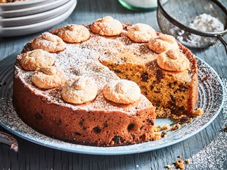 Easter simnel cake with almond macaroons