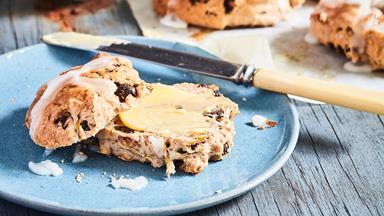 Gluten-free hot cross bun Easter scones