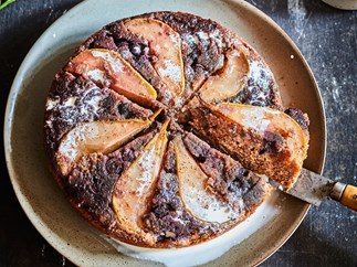 Pear and blueberry spice upside-down cake