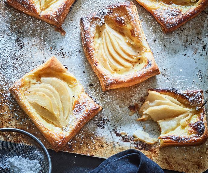 Homemade pear and honey Danish pastries