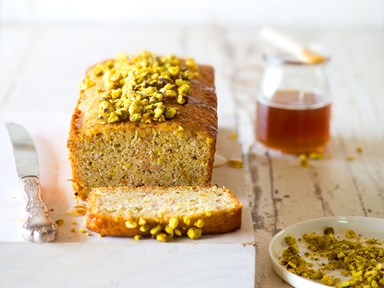 Feijoa, pistachio and lime loaf