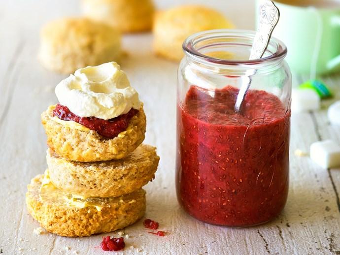 Feijoa ginger scones with fast feijoa jam