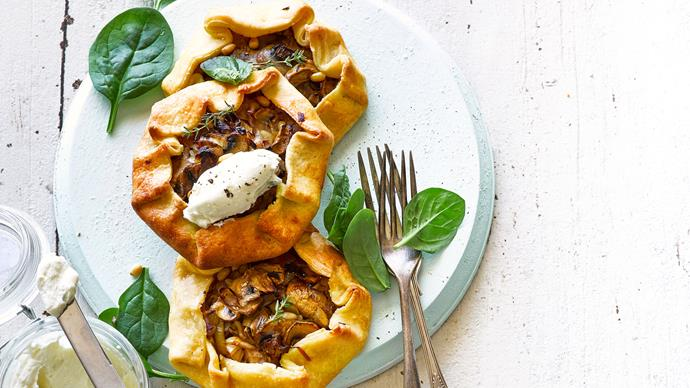 Leek and mushroom tarts with whipped feta