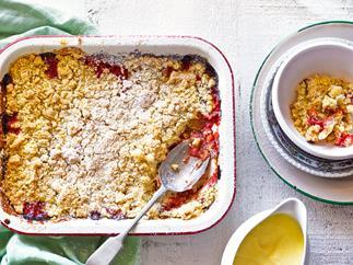 Roasted rhubarb and strawberry crumble