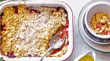 Roasted rhubarb and strawberry crumble