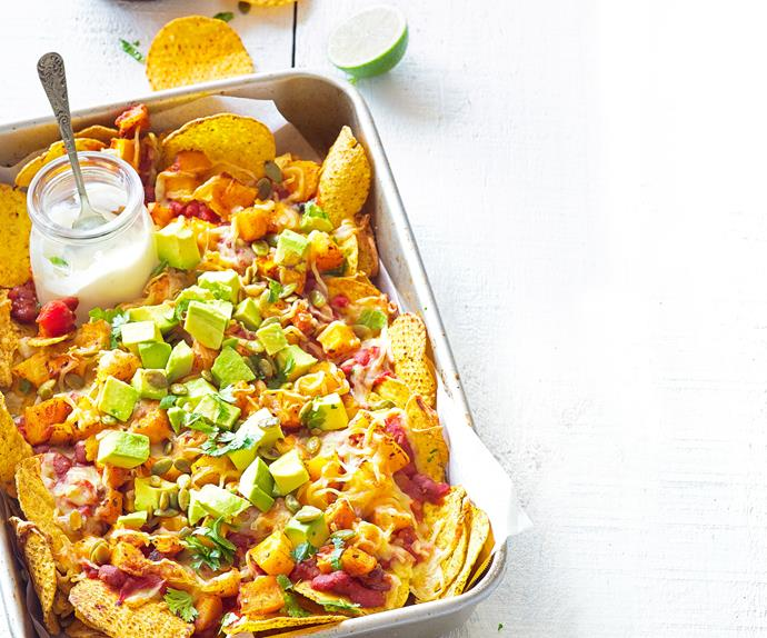 Loaded pumpkin nachos