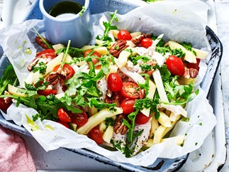 Parsnip 'penne' and chicken salad