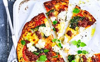 Spicy lamb and silverbeet courgette pizza