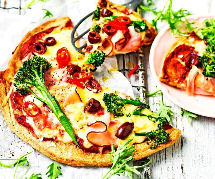 Ham and broccolini quinoa pizza
