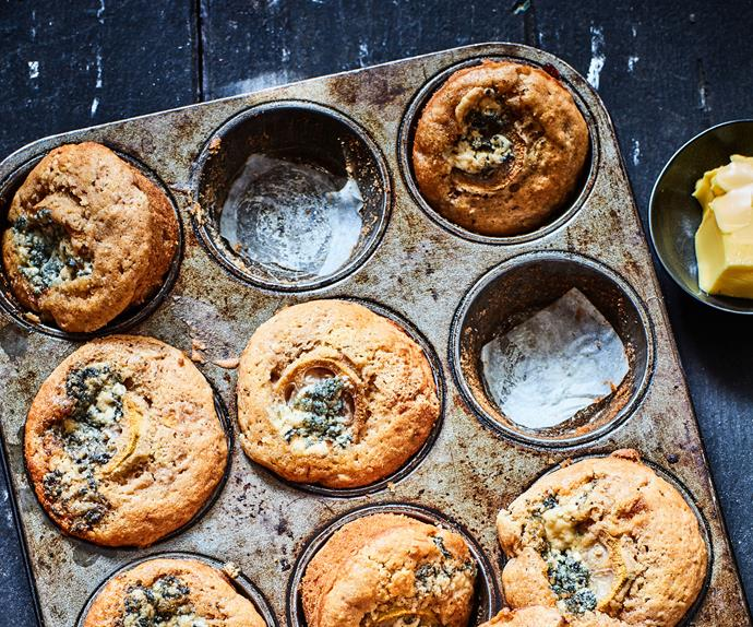 Feijoa, thyme and blue cheese muffins
