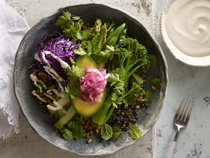 "**[Freekeh & lentil vegetable bowl](https://www.womensweeklyfood.com.au/recipes/freekeh-and-lentil-vegetable-bowl-2938|target=""_blank"")** This bowl of green goodness is filled with lentils, avocado and a delicious tahini yoghourt dressing."