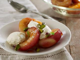 Nectarines with labne pistachios & mint