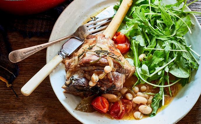 Lamb shanks with white bean and rosemary tomato sauce
