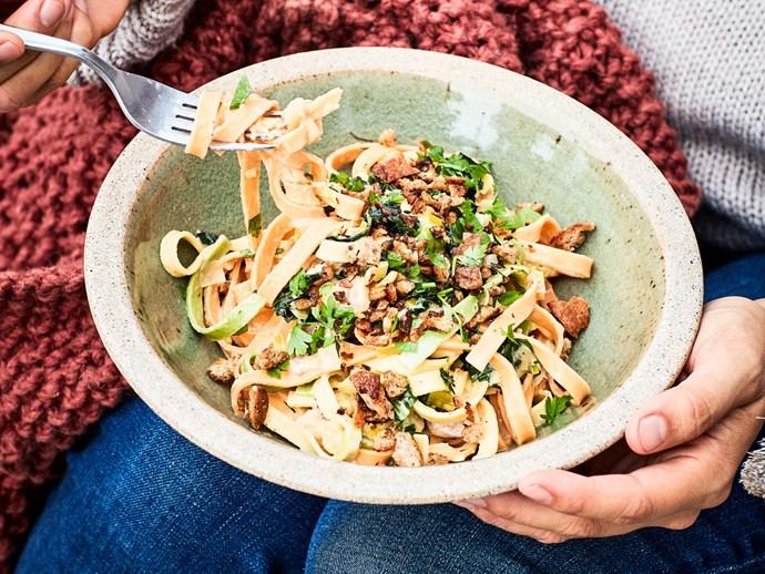 Winter veg and bacon carbonara with pangritata