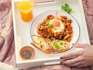 Smoky mince and beans with baked eggs