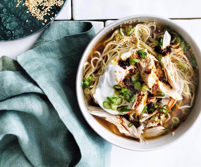 Chicken and egg noodle soup with ginger and chilli
