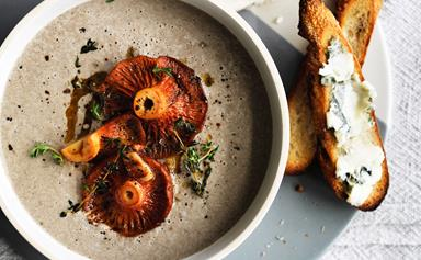 Mushroom and thyme soup with roquefort croutons