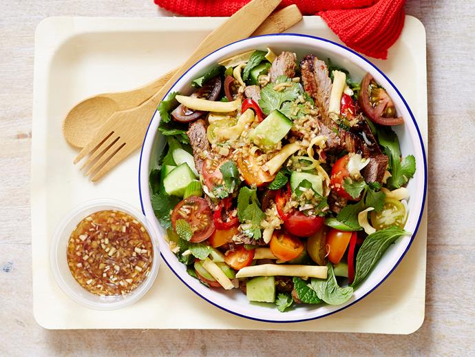 "**[Thai beef salad](https://www.womensweeklyfood.com.au/recipes/thai-beef-salad-22500|target=""_blank"")**  It's deceptively easy to make."