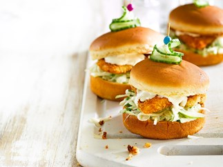 Fennel slaw and crispy fish sliders
