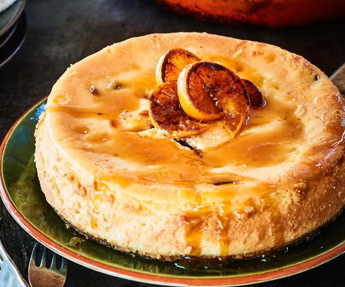 Mandarin and sultana cheesecake