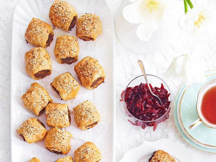 Harissa lamb sausage rolls with beetroot relish