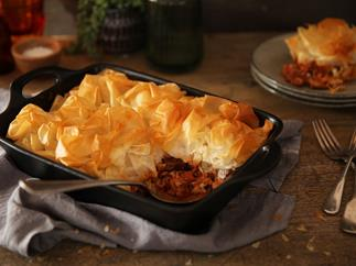 Easy filo topped pie