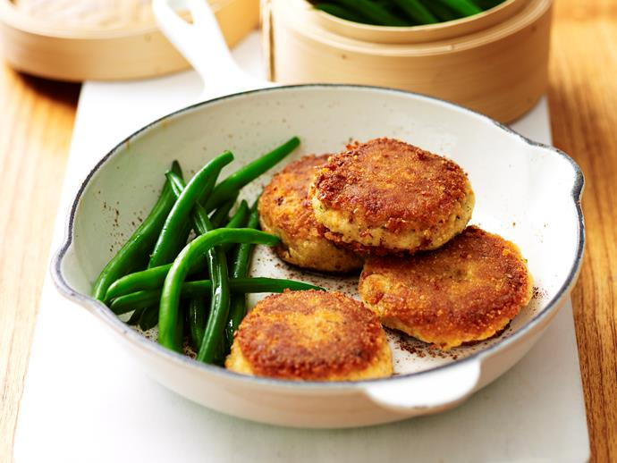 "**[Salmon patties](https://www.womensweeklyfood.com.au/recipes/salmon-patties-17628|target=""_blank"")**  Packed with textures of flaky salmon and creamy mash, these patties make an excellent snack for kids and adults alike."