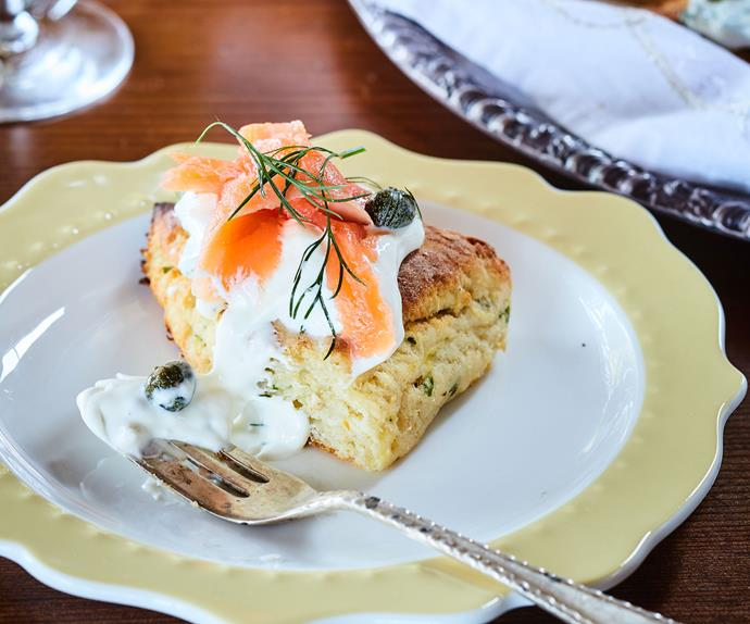 Tatie scones with smoked salmon and dill cream