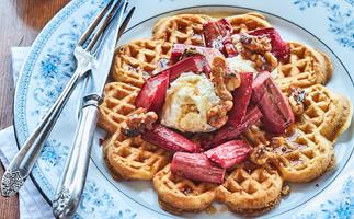 Waffles with roasted rhubarb, walnuts and maple syrup