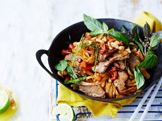 Thai spicy lamb and noodle stir-fry
