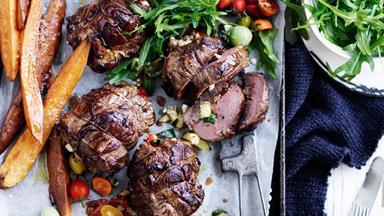 Feta, basil and vegetable lamb roasts