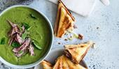 Split pea and ham soup with ham and cheddar toasties