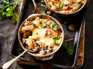 Mushroom bread and butter puddings