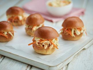 Pulled chicken sliders with coleslaw