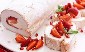 Strawberry and pomegranate pavlova roulade