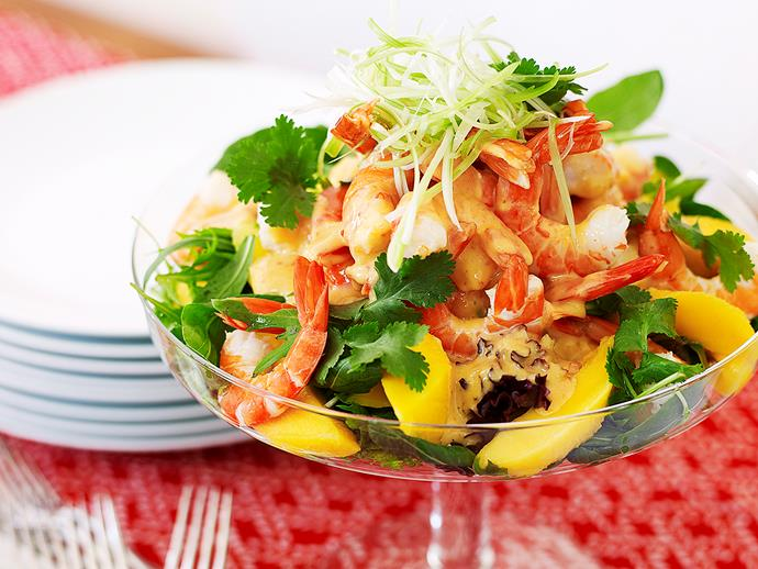 "**[Prawn and mango salad](https://www.womensweeklyfood.com.au/recipes/prawn-and-mango-salad-15838|target=""_blank"")**  This gorgeous salad covers all the flavour bases with sweet mango, juicy prawns and a cheeky kick of heat from the chilli and mustard. And with all those vibrant colours, it's a feast for the eyes as well as the tastebuds."