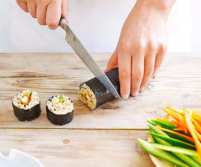 Brown rice chicken teriykaki sushi