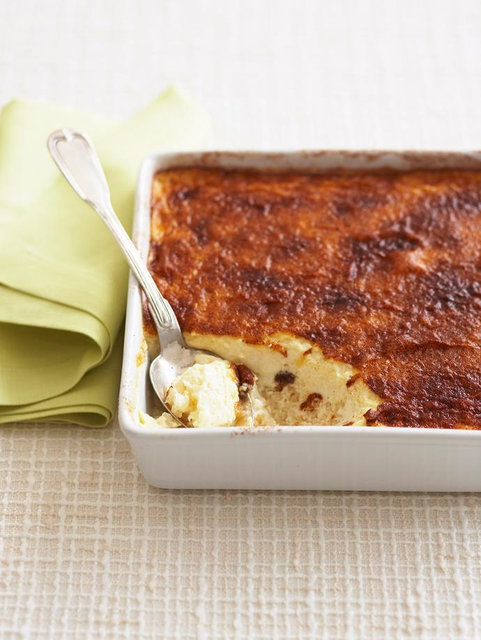 "**[Baked rice custard](https://www.womensweeklyfood.com.au/recipes/baked-rice-custard-6303|target=""_blank"")**  You'll want to give this one last run before winter's out."